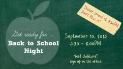 Back-to-School Night – September 10